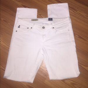 Ag white jeans the Stevie slim straight
